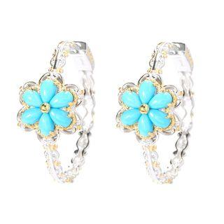 Michael Valitutti Palladium Silver Sleeping Beauty Turquoise Flower Hoop Earrings