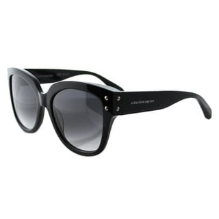 Alexander McQueen AM 0051S 001 Black Plastic Square Grey Gradient Lens Sunglasses