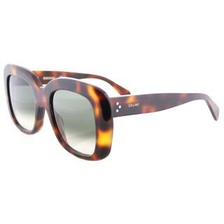 Celine CL 41433 05L Stella Havana Plastic Square Green Degrade Lens Sunglasses