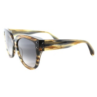 Alexander McQueen AM 0051S 002 Striped Brown Plastic Square Grey Gradient Lens Sunglasses