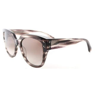 Alexander McQueen AM 0051S 003 Striped Light Brown Plastic Square Brown Gradient Lens Sunglasses