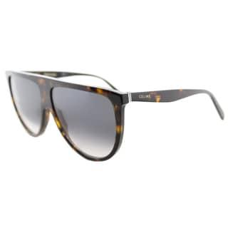 Celine CL 41435 086 Thin Shadow Dark Havana Plastic Round Dark Grey Degrade Lens Sunglasses