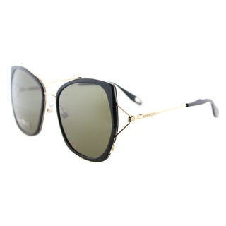 Givenchy GV 7031 ANW Black Gold Metal Square  Brown Lens Sunglasses