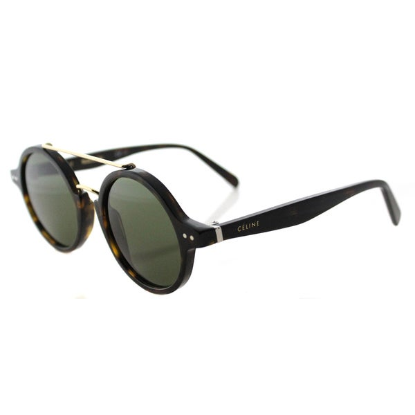 c88bc13f5a Celine CL 41436 086 Thin Ella Dark Havana Gold Plastic Round Green Lens  Sunglasses