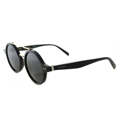 8dc433b1c2 Celine CL 41436 807 Thin Ella Black Gold Plastic Round Grey Blue Lens  Sunglasses
