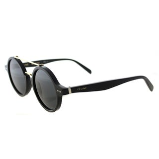 Celine CL 41436 807 Thin Ella Black Gold Plastic Round Grey Blue Lens Sunglasses
