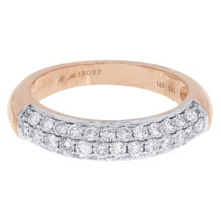 14k Rose Gold 7/8ct TDW Diamond Wedding Band (H-I, SI2-SI3)