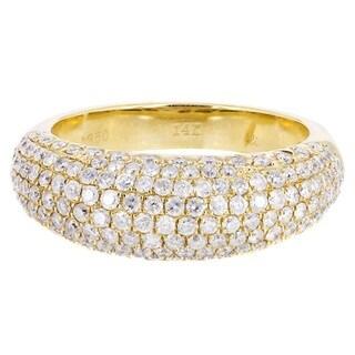 14k Yellow Gold 1 1/2ct TDW Diamond Multi-row Wedding Ring