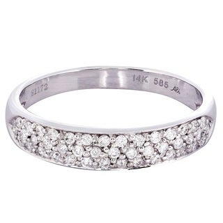 14k White Gold 1/3ct TDW Multi-row Diamond Wedding Band (H-I, I1-I2)