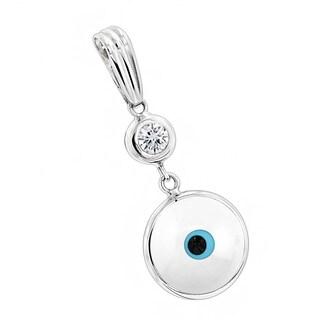 Luxurman 14k Gold 1/10ct TDW Diamond White Evil Eye Pendant