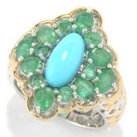 Michael Valitutti Palladium Silver Sleeping Beauty Turquoise and Emerald Cocktail Ring