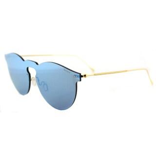 Illesteva Leonard Mask LM8 Sky Blue Plastic Round Sky Blue Mirror Lens Sunglasses