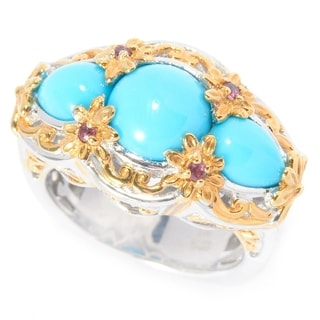 Michael Valitutti Palladium Silver Sleeping Beauty Turquoise with Rhodolite Flower Cocktail Ring
