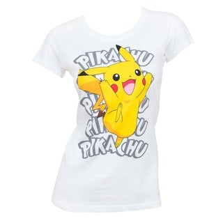 Pokemon Pikachu White Cotton Women's Tee Shirt