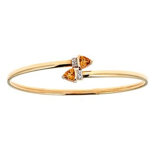 14k Yellow Gold Citrine and Diamond Bangle Bracelet