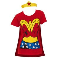 Women's Wonder Woman Red Cotton Costume Tee Shirt With Cape and Tiara