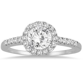 Marquee Jewels 14k White Gold 1ct TDW Diamond Halo Engagement Ring (More options available)