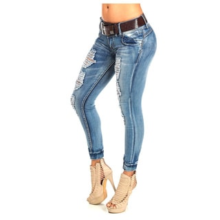Women's Low-Rise Ankle Jeans with Belt