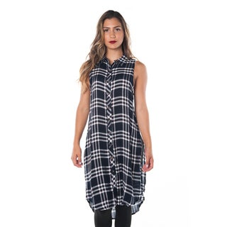 Women's Plaid Rayon Button Down Sleeveless Blouse Mini Dress