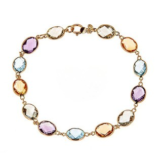 14k Yellow Gold Multi Gem Semi Precious Bracelet