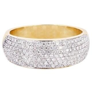 14k Yellow Gold Multi-row 3/4ct TDW Diamond Wedding Band