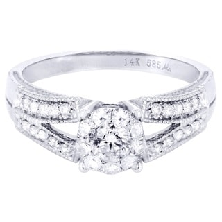 14k White Gold 1/2ct TDW Eternal Pave Split Diamond Engagement Ring (H-I, I1-I2)