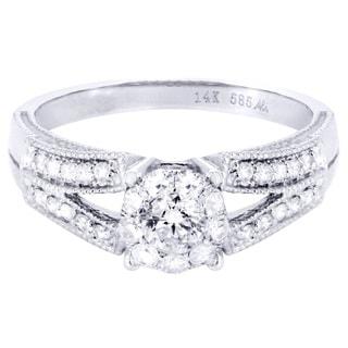 14k White Gold 1/2ct TDW Eternal Pave Split Diamond Engagement Ring