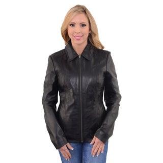 Women's Zipper Front Scuba Jacket With Shirt Collar