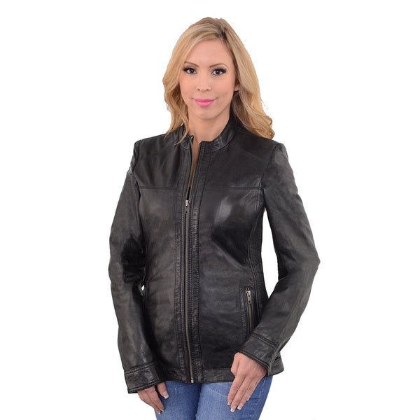 Women's Leather Scuba Jacket