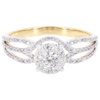 14k Yellow Gold 5/8ct TDW Diamond Engagement Ring