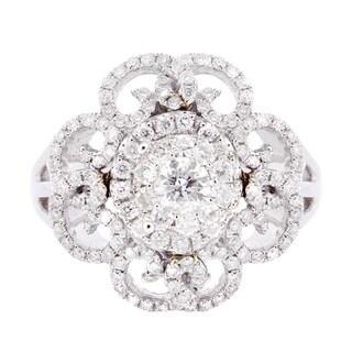 14k White Gold 7/8ct TDW Flower Diamond Ring (H-I, I1-I2)