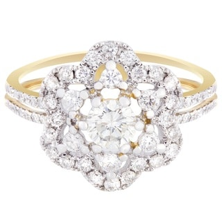 14k Yellow Gold 1 1/10ct TDW Flower Diamond Ring (H-I, I1-I2)