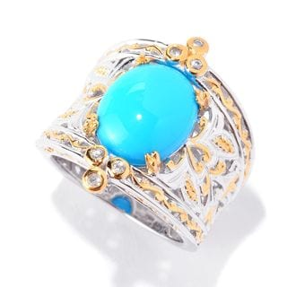 Michael Valitutti Palladium Silver Sleeping Beauty Turquoise and White Sapphire Cocktail Ring