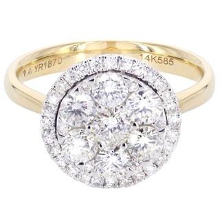14k Yellow Gold Halo 1 1/3ct TDW Diamond Engagement Ring