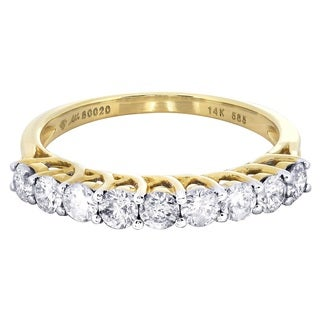 14k Yellow Gold 7/8ct TDW Diamond Wedding Band (G-H, I1-I2)