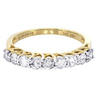 14k Yellow Gold 7/8ct TDW Diamond Wedding Band
