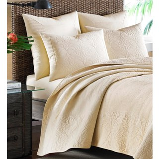 Tommy Bahama Nassau Ivory Cotton Quilted European Sham