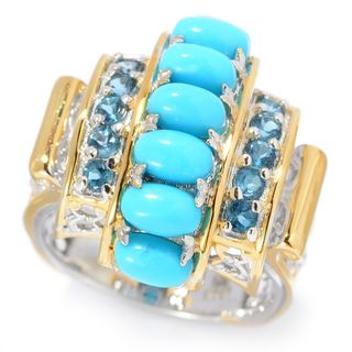 Michael Valitutti Palladium Silver Sleeping Beauty Turquoise and London Blue Topaz Cocktail Ring