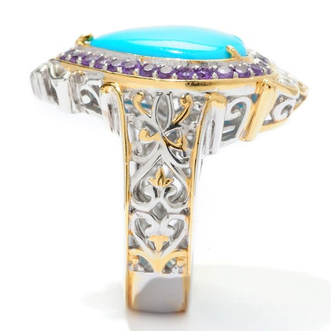 Michael Valitutti Palladium Silver Sleeping Beauty Turquoise with African Amethyst Halo Heart Ring