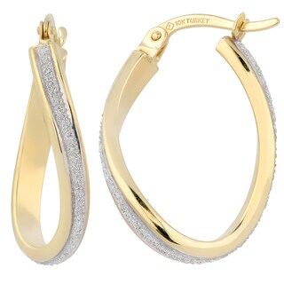 Fremada 14k Two-tone Gold Finished Oval Hoop Earrings