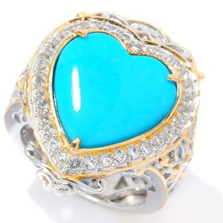 Michael Valitutti Palladium Silver Sleeping Beauty Turquoise with White Topaz Halo Heart Ring