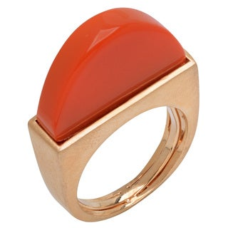 Women's Satin-finish Brass and Plastic Stone Geometric Ring