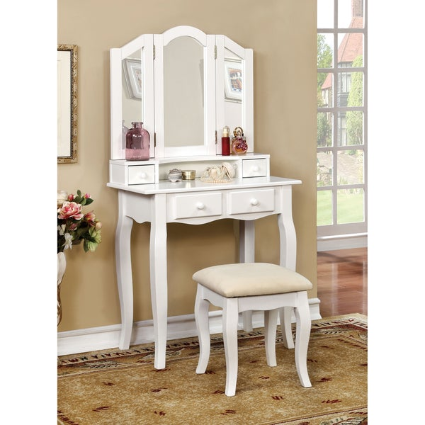 Furniture of America Paula Classic 2-piece Vanity Table and Padded Stool Set