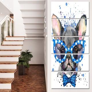 Designart 'Cute French Bulldog with Glasses' Animal Canvas Wall Art