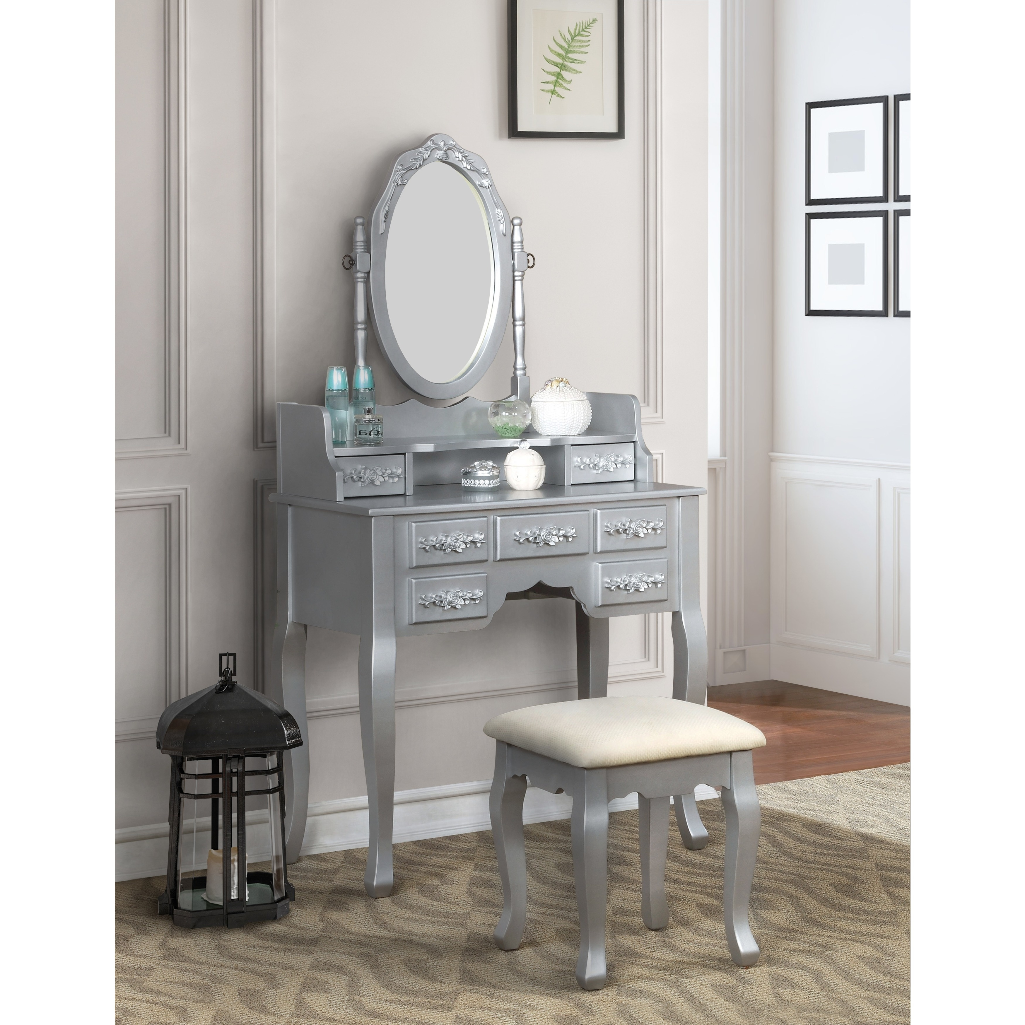 lowest price 30bf7 c141e Silver Orchid Pontoppidan 2-piece Vanity Table and Stool Set