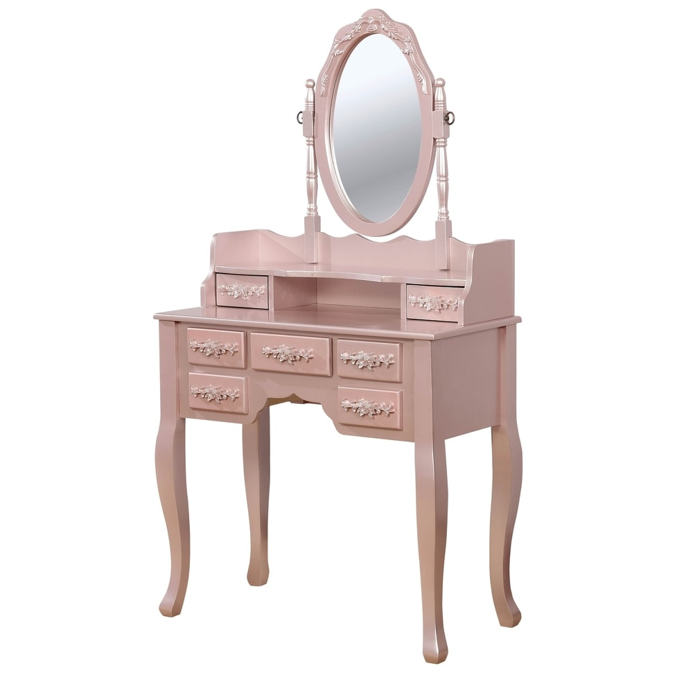 Silver Orchid Pontoppidan 2-piece Vanity Table and Stool Set - Pink