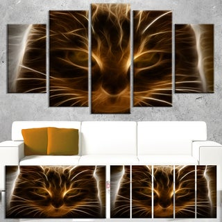 Designart 'Glowing Fractal Cat Illustration' Animal Canvas Wall Art