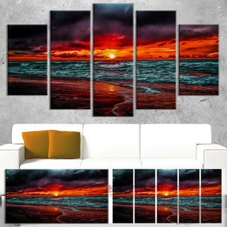Designart 'Red Sunset over Blue Waters' Seashore Canvas Wall Artwork