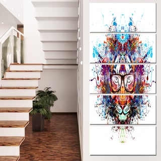Designart 'Colorful Tiger in Glasses' Animal Artwork on Canvas
