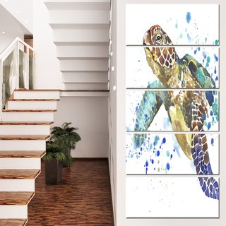 Designart 'Blue Sea Turtle Illustration' Animal Artwork on Canvas